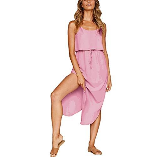 LIGHTBLUE Hellblaue Frauen einfarbig Kleid Rundhalsausschnitt ärmellose Taille lässig Sommer Boho Strand Maxi-Kleid, rosa (Lieferant orange), S