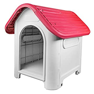 RayGar Plastic Dog Cat Kennel House Weatherproof For Indoor And Outdoor Pet Shelter, Red RayGar Plastic Dog Cat Kennel House Weatherproof For Indoor And Outdoor Pet Shelter, Red,Small 41hEUjfMeAL