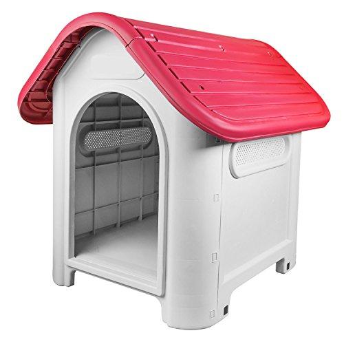 RayGar Hundehütte aus Kunststoff, wetterfest, für den Innen- und Außenbereich, Rot -
