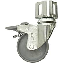 Simonrack 52209000002 - Rueda para estantería (80 mm, con pie, con freno, incluye 2 tornillos y tuercas, 70 kg)