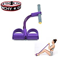 BTHER Upgrade 4-Tube Natural Latex Sit-up Bodybuilding Expander- Elastic Pull Rope Fitness Equipment- Pedal Resistance Band for Abdomen/Waist/Arm/Yoga Stretching Slimming Training- Purple