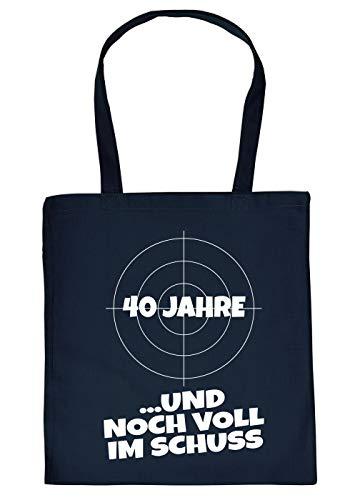 (Stoffbeutel/Sprüche/Einkaufs-Tasche Thema Geburtstag: 40 Jahre …und noch voll im Schuss)