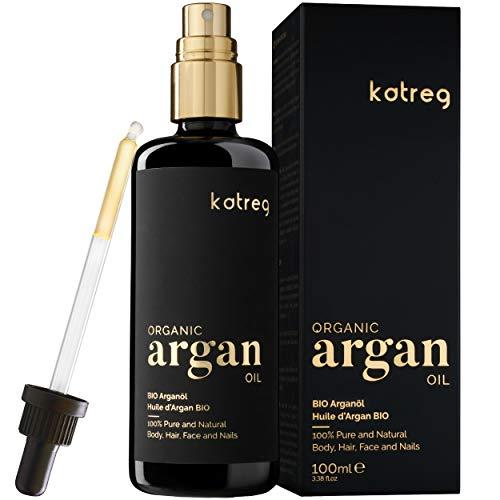 Katreg Olio di Argan Organico - Siero Rinforzante e Idratante per Pelle, Viso, Capelli Secchi e Unghie, al 100% Naturale - Marocchino, Spremuto a Freddo - Ricco di Antiossidanti e Vitamina E - 100ml
