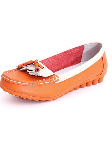 ZQ gyht Scarpe Donna - Scarpe da barca - Tempo libero / Casual - Punta arrotondata - Piatto - Di pelle - Blu / Giallo / Bianco / Arancione , orange-us8.5 / eu39 / uk6.5 / cn40 , orange-us8.5 / eu39 /  orange-us8 / eu39 / uk6 / cn39