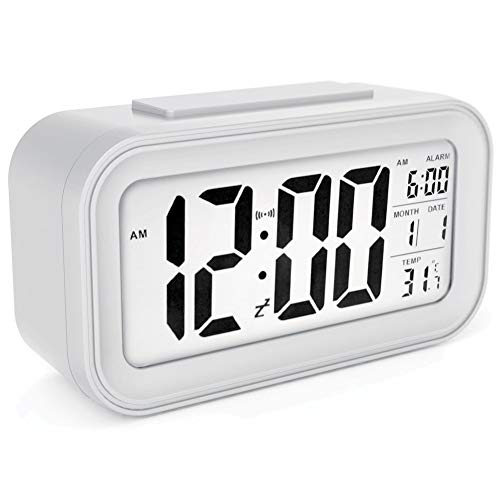 KMKM Reloj Despertador, Gran Pantalla LED De Alarma Snooze Digital Light Activated Características...