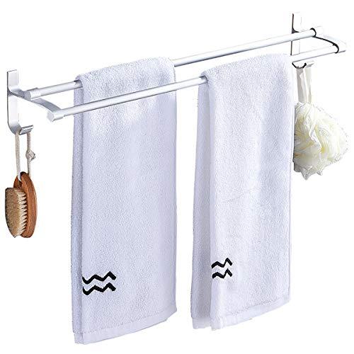 SOYYD Doppel-Handtuchstange Handtuchhalter ohne Bohren Handtuchhalter Bad Handtuchstange Handtuchständer Wasserdicht Edelstahl Handtuchhaken Badetuchstange Selbstklebend Küchen,50cm