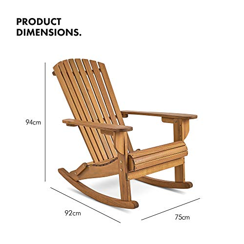 VonHaus Rocking Adirondack Chair - Outdoor Garden Furniture made from Acacia Hardwood with Oiled Finish