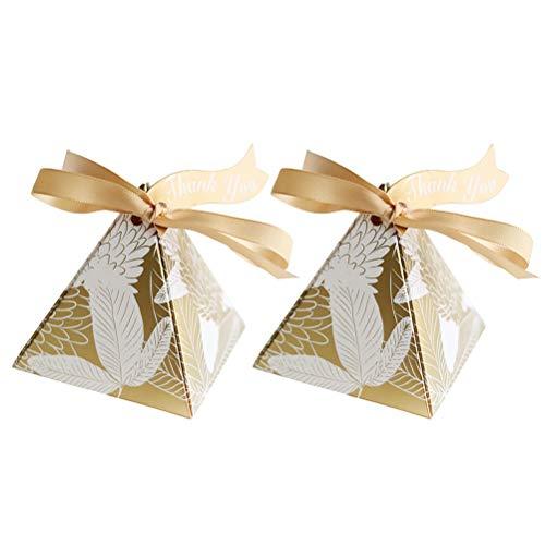 Amosfun 20PCS / Set Pequeña Caja de Dulces de Papel con impresión de Plumas triángulo Caja de Chocolate con Caja de Regalo de la Cinta de la Cinta Fuentes del Partido (Dorado)