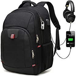 Mochila Antirrobo Impermeable, Mochila Portátil Hombre 17.3 Pulgadas Puerto USB Impermeable Trabajo Ordenador Viaje Negocio