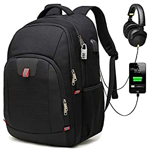 Della Gao Laptop Backpack, Extra Large Computer Rucksack with USB Charging Port and Headphone Hole,Water Resistant Big…