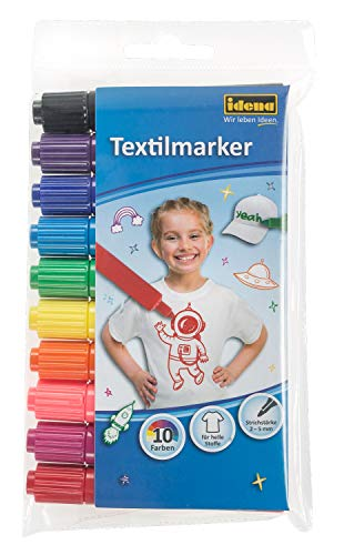 Idena 60035 - Textilmarker für helle Stoffe, 10 Textilstifte in leuchtenden Farben, Ideal für T-Shirts, Stoffbeutel, für verschiedene Materialien