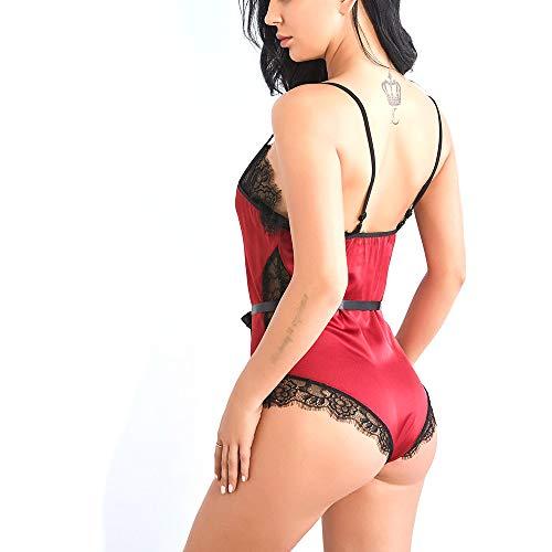 Mibuy Damen Spitze Dessous Sexy Overall Reizwäsche Reizvolle Lingerie Bikini Nachtwäsche-Sets Negligee Reizvolle Strapsen Erotik V-Ausschnitt Unterwäsche Lingerie Babydoll Nachthemd Set(Rot,M) - 4