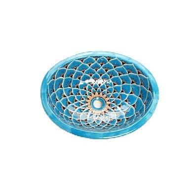 Aqua Azul - Großes Waschbecken in Türkis | Mexikanisches Ovales Waschbecken | Oval Einbauwaschbecken mit Rand | Keramik Talavera Einbau/Unterbau Waschbecken aus Mexiko