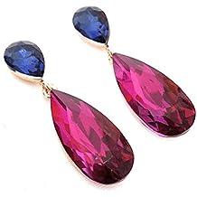 c380141c5df5 Pendientes Largos Mujer Bisutería Cristales de Colores Fiesta Boda Forma  Lágrima Chapado Oro