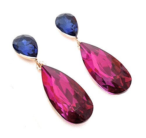 7ce6297aa27b ... 4 - Pendientes Largos Mujer Bisutería Cristales de Colores Fiesta Boda  Forma Lágrima Chapado Oro