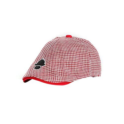 Kinder Baskenmütze Cap, lässig England Style Streifen Baumwolle Newsboy Flat Hat (rot) -