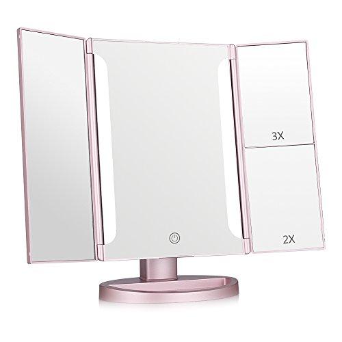 Easehold Espejo para Maquillaje con Luz LED 20 Bombillas Espejo Aumento 2X/3X Triple Plegable Espejo Compacto LED 180 Grado de Rotación Pantalla Táctil con Base, Regalo Original (Oro Rosa)