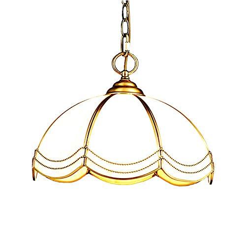 MoiHL Europäische Kupfer Kronleuchter Milchglas Lampenschirm Restaurant Schlafzimmer Cafe Single Head Retro American Pendelleuchte -