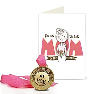 TIED RIBBONS Mothers Day Gifts from Daughter | Mothers Day Gifts from Son | Mothers Day Special Gifts | Gift for Mother Golden Medal with Mother's Day Special Greeting Card