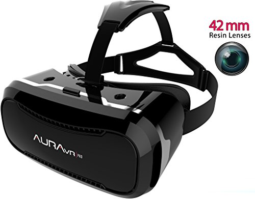 AuraVR PRO VR Headset Glasses/Virtual Reality Gear with 42mm lenses, Individual Lens adjustment, 110 degree FOV inspired by Google Cardboard, Oculus Rift & Samsung Gear for Android & iOS phones