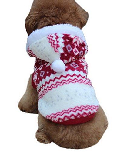 Bigood Costume Veste Capuche Manteau pour Chien Coton Floconde Hiver Rouge Bust 46cm