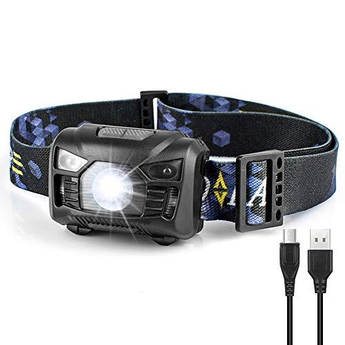 Mosteck USB Wiederaufladbare LED Stirnlampe Kopflampe, Wasserdicht Leichtgewichts Mini Headlight mit 5 Modis Einstellbar für Kinder und Erwachsene, Joggen, Lesen, Laufen, Inklusive USB Kabel & Akku