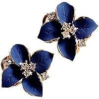 Hosaire Boucles d'oreilles Femmes Elégance avec Strass en Forme Camélia mignon oreilles percées earrings bijoux