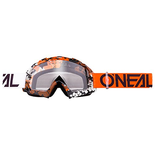 O'Neal B-10 Goggle Pixel Crossbrille Klar Motocross DH Downhill MX Anti-Fog Glas, 6024-30, Farbe orange