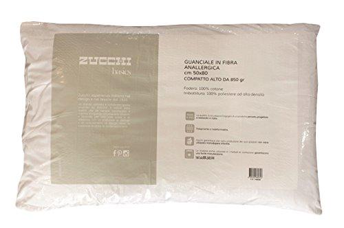 Guanciale in fibra anallergica compatto alto 850 gr zucchi basics fodera cuscino cotone bianco lavabile lavatrice