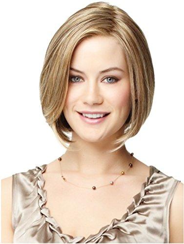 (Beste bob Perücken Synthetisches Haar braun Perücken blonde Highlights für Frauendame kurze Länge glattes Haar Perücken Seite knallt falsche Haare ShowPower)