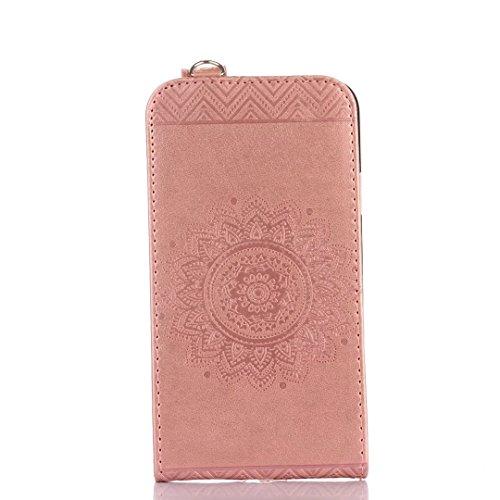 Samsung Galaxy S5 Case, vertikal Flip-Standplatz Fall geprägt Blumen Muster Leder Fall Deckung mit Wallet-Card Slots für Samsung Galaxy S5 ( Color : Light Purple , Size : Samsung Galaxy S5 ) Pink