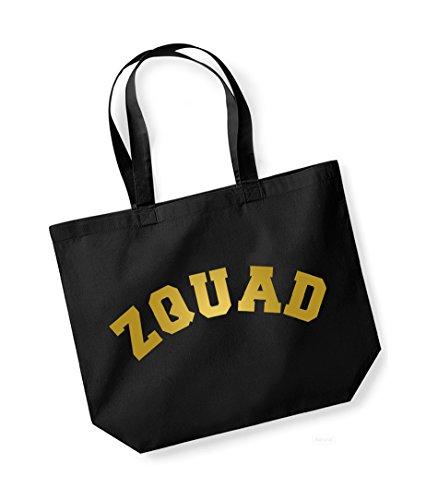 Zquad - Large Canvas Fun Slogan Tote Bag Black/Gold