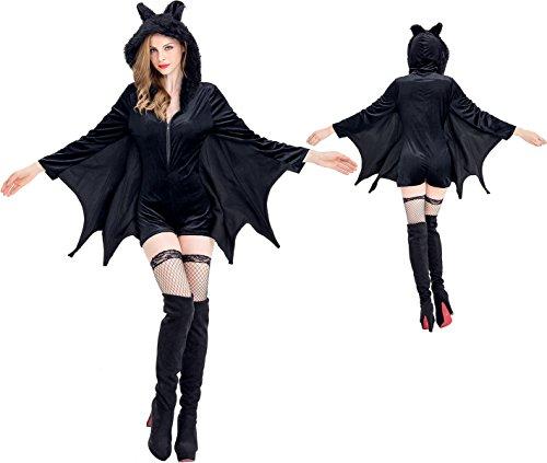 Halloween Bat Kostüm für Damen,Cozy Bat Damenkostüm Schwarz Karneval Kostüm Warm Fasching Halloween - Miss EEDAN (Fantasievolle Halloween Kostüme)