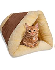 Petslover Cat Bed Cave House Bed - Best for Indoor Cats Houses Heated Kitten Warm Pet Self Warming w/Hoods Caves Igloo Covered Pod Felted Faux Felt Wool Cocoon
