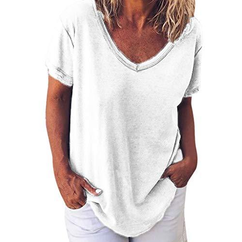 Tops Damen Mode Frauen Sommer Kurzarmshirt Casual Lose Beiläufige V-Ausschnitt Kurzarm Einfarbig Tops T-Shirt (Weiß 1,L3) (Wenn Halloween-kostüm Ideen, Schwanger)