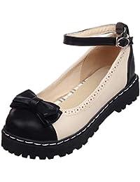 f2af011df9b712 Coolulu Damen Pumps Flach mit Riemchen und Schleife Rockabilly Lolita  Cosplay Schuhe