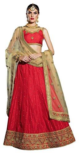 GAJIWALA SAREES Women's Net Unstitched Dress Material (Red & Beige)