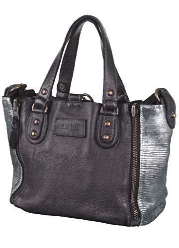 Bull & Hunt 100% Rindleder Jackie mini black chrome Tasche Reißverschlusstasche Falttasche