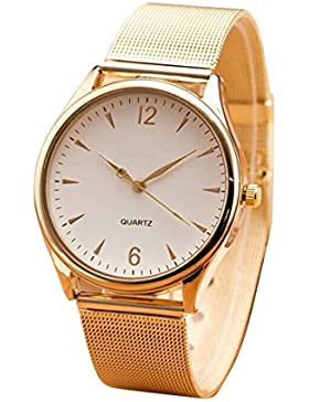 FEITONG Damenuhr Mode Golden Edelstahl Armband Analoge Quarz Armbanduhr Weiß