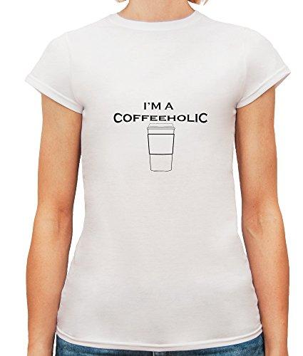 Mesdames T-Shirt avec I'm a Coffeeholic Funny Slogan Phrase imprimé. Blanc