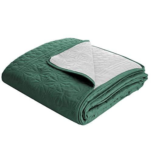 Design91 Zweiseitige Allzweckdecke Tagesdecke Steppdecke Bettüberwurf Doppelseitig Gesteppt Adri (Grün + Silber, 170 x 210 cm)