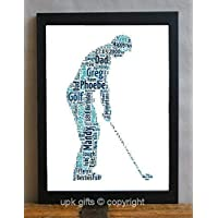 UPK Gifts Personalised Golfer Keepsake Print Gift Word Art with FRAME Golf Daddy Dad Father's Day Best Friend Friends Birthday Daughter Son Family for him