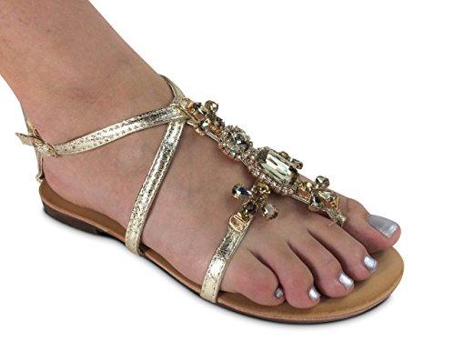 Damen Zehentrenner Sandalen Glitzer Nieten Sandaletten (40, ST561 Gold)