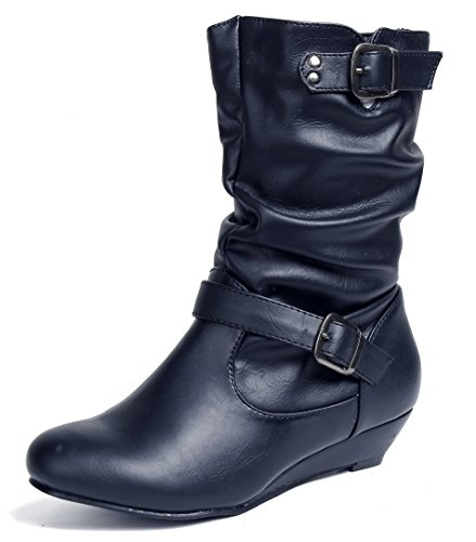 AgeeMi Shoes Femmes Bottines Imperméable Veau pour Talon Compensé Matériau Souple Plier Bottes