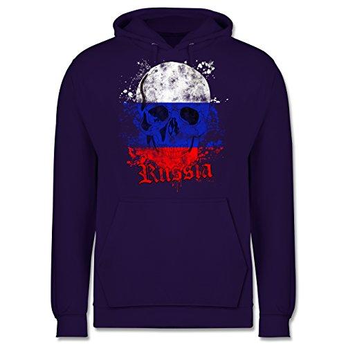 EM 2016 - Frankreich - Russia Schädel Vintage - Männer Premium Kapuzenpullover / Hoodie Lila