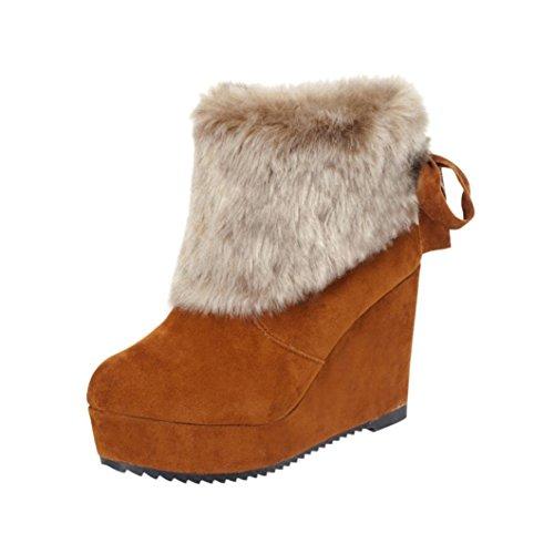 Hot Femme Cheville Bottes De Neige, Tefamore Bow Tie Sweat Chaussures De Plein Air Brown