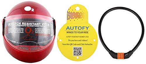 Autofy O2 Zed Full Face Flip Up Helmet (Red,M) and Autofy 4 Digits Universal Multi Purpose Steel Cable (Black and Orange) Combo