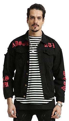 Pizoff Herren Hip Hop Oversized Jeansjacke mit gothic Druckmuster in auffälliger Distressed-Optik