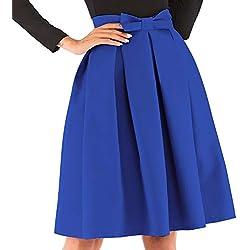 kefirlily Mujer Midi Falda Plisada Cintura Alta Vintage Falda A-Line Elegante Color Sólido con Lazo Azul XXL