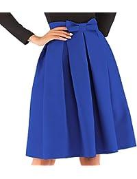3d930fe47a kefirlily Mujer Midi Falda Plisada Cintura Alta Vintage Falda A-Line  Elegante Color Sólido con